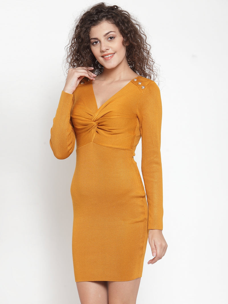 Women Mustard V-Neck Slim Fit Dress