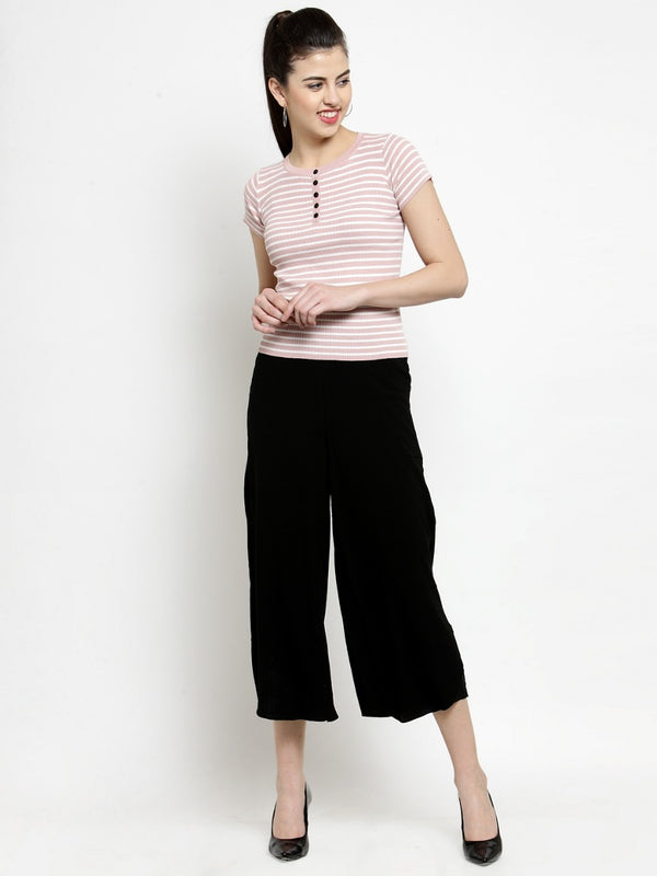 Women Solid Black Culottes