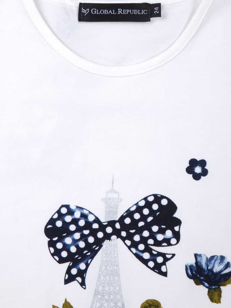 Kids Printed White Round Neck Top