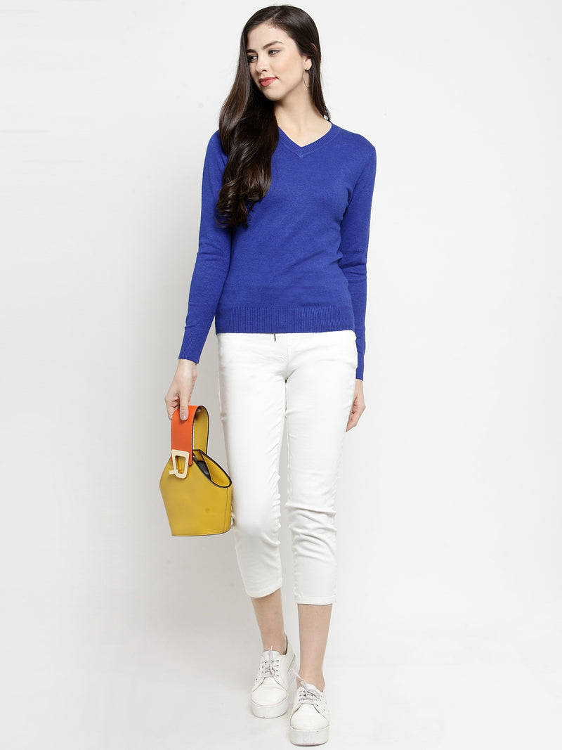 Women Royal Blue V-Neck Full Sleeve Skeevi Pullover