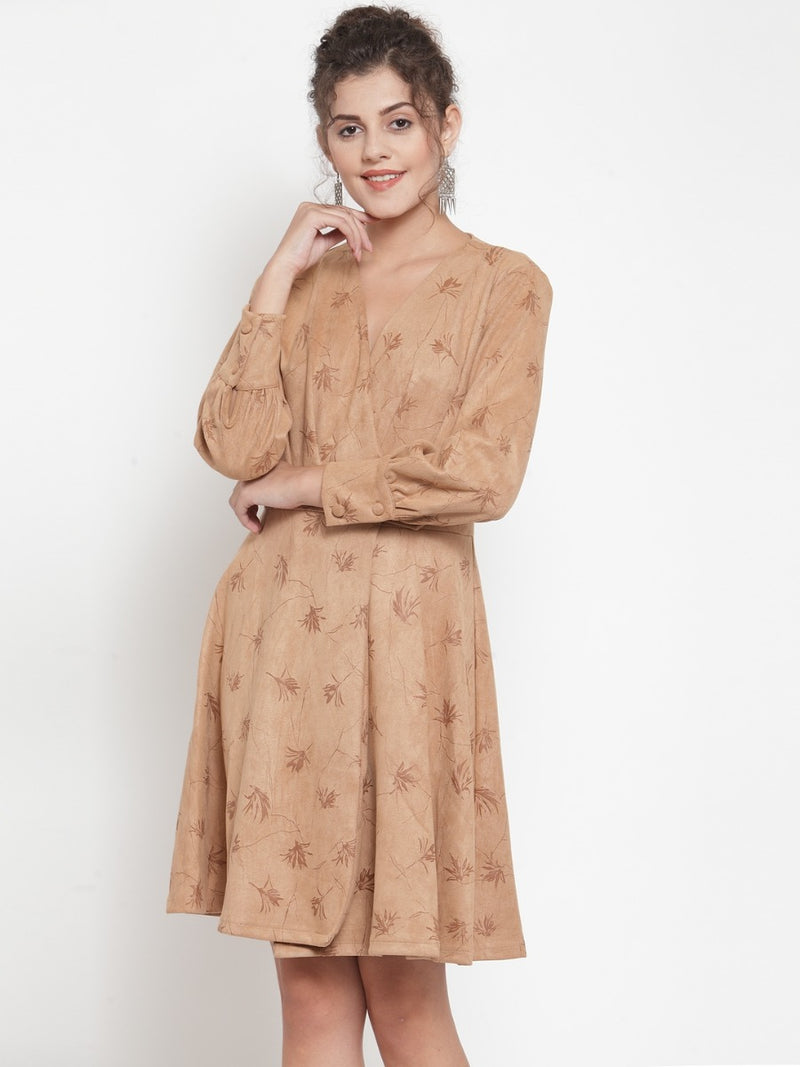 Women Printed Khaki V-Neck Dress