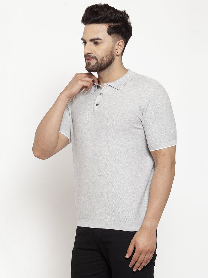 Mens Off White Collar Regular Fit T-Shirt