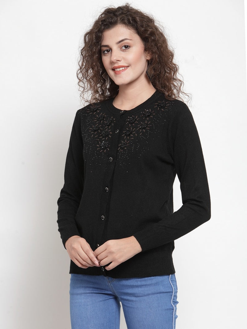 Women Black Embroidered Round-Neck Cardigan