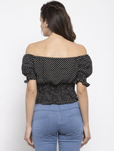 Women Black Off-Shoulder Top With Polka Dots