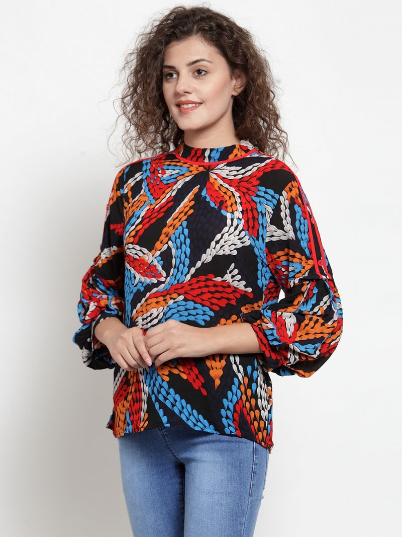 Women Multi-Coloured High Neck Top With Balloon Sleeves