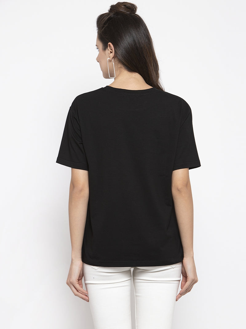 Women Solid Black Round Neck Top