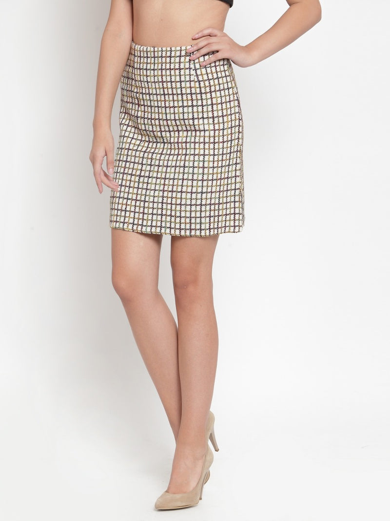 Women Checked Beige Texture Skirt