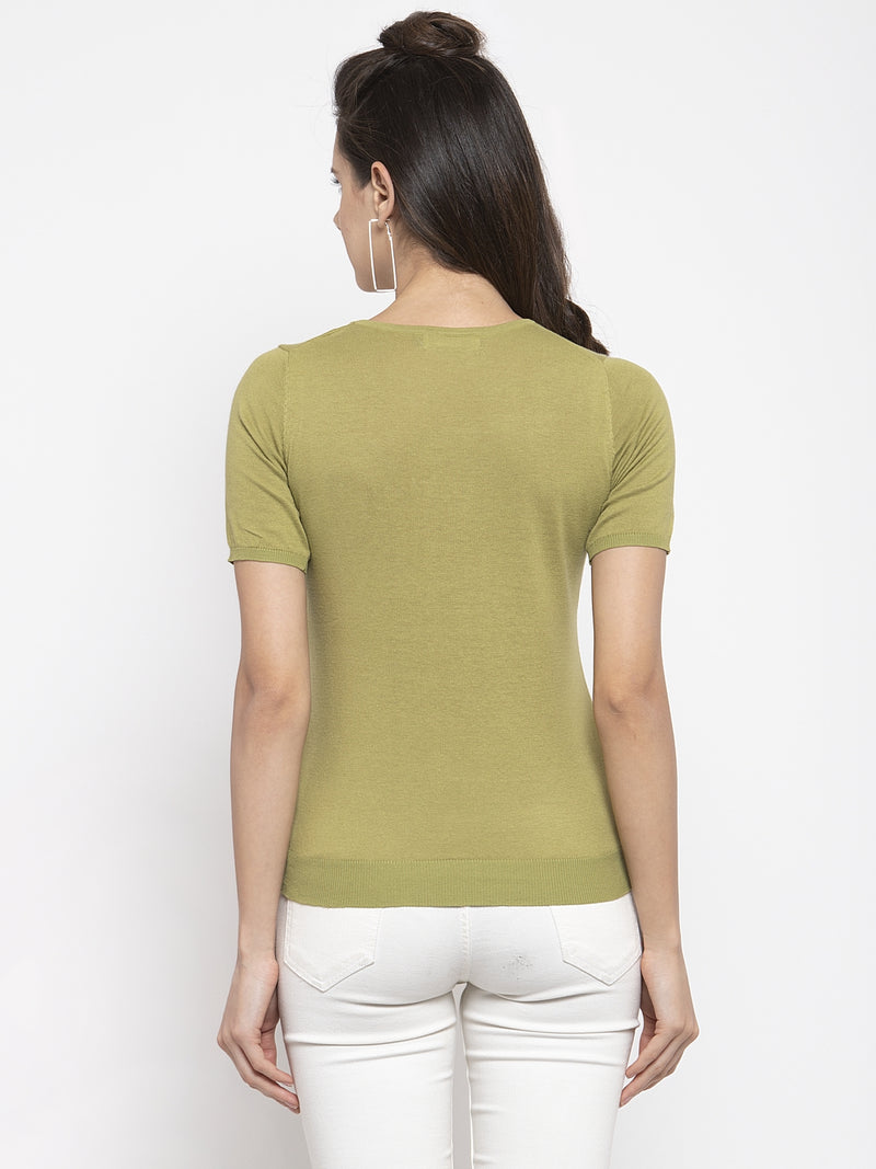Women Solid Green Round Neck Top