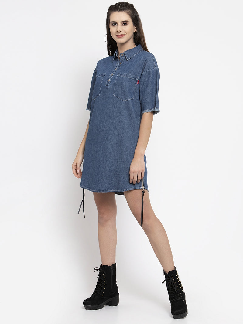 Women Dyed Blue Shirt Collar Dress