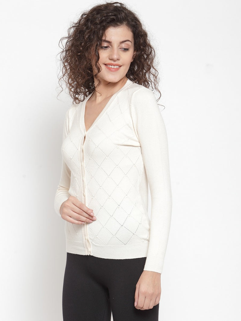 Women Solid Beige Cardigan With Pearls