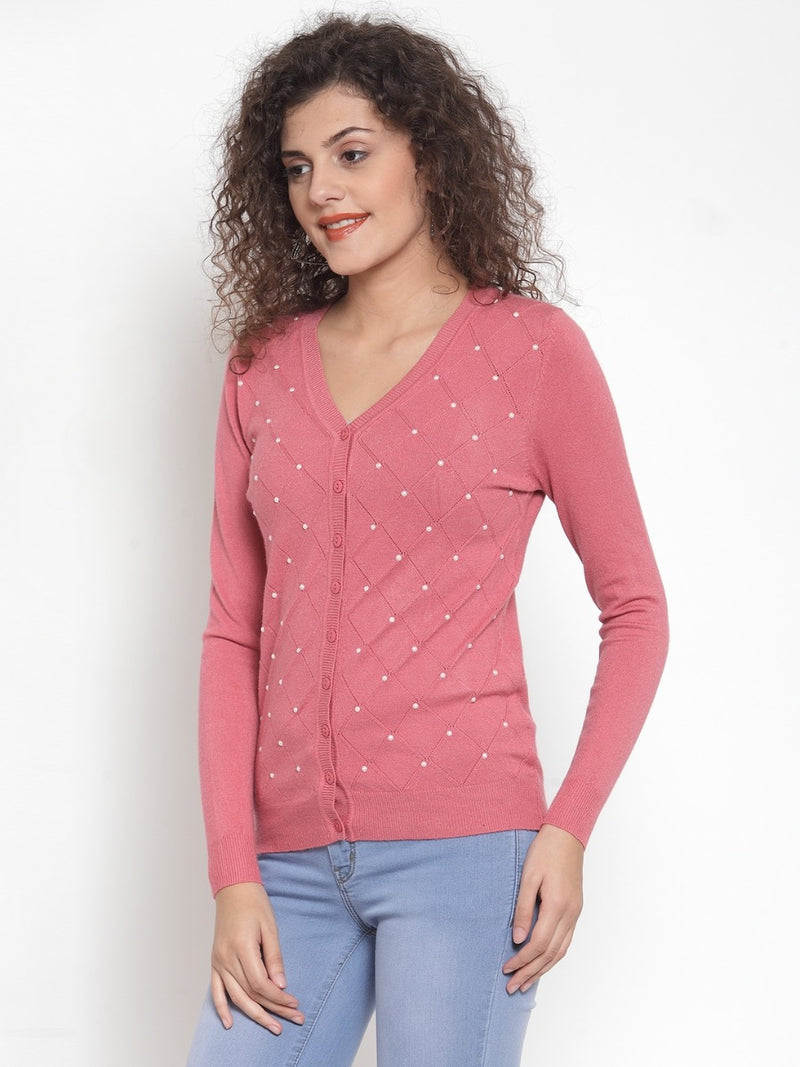 Women Solid Pink Cardigan With Pearls