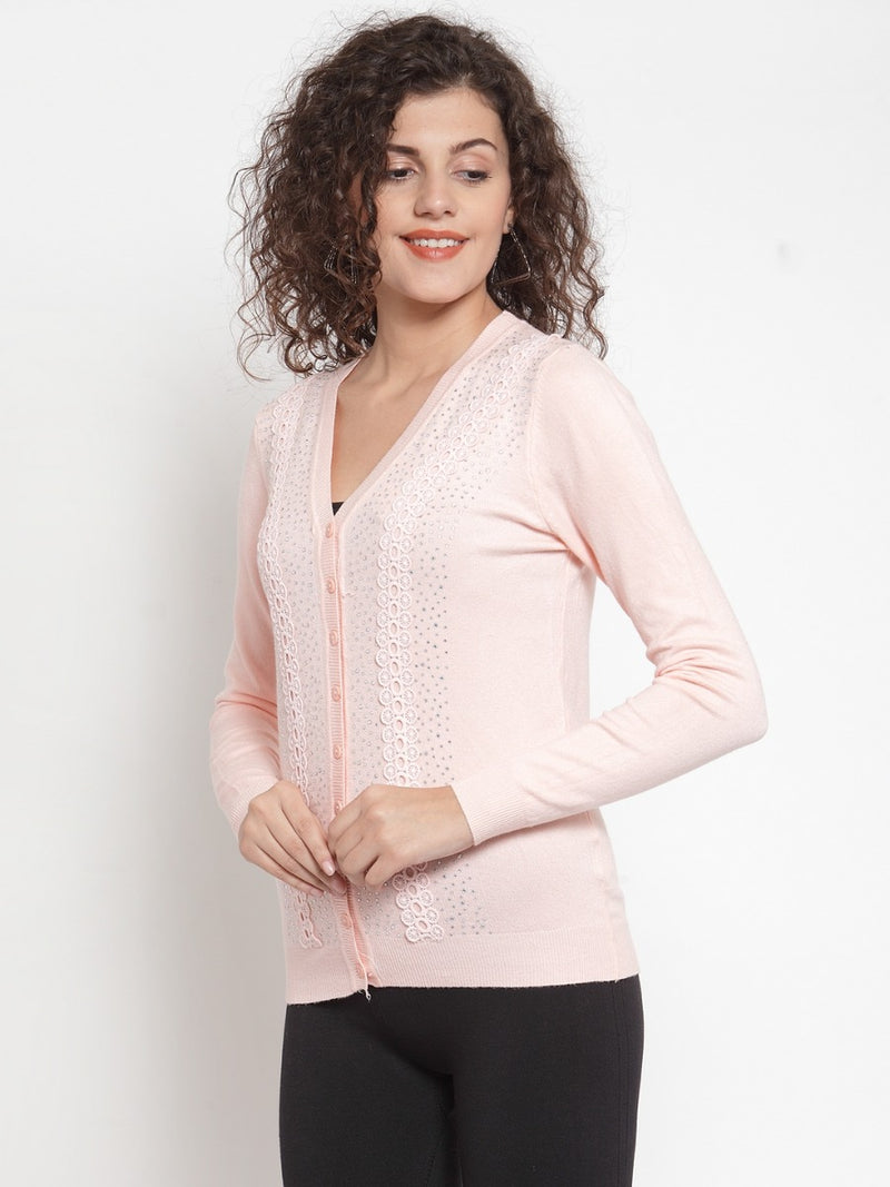 Women Peach Embellished Cardigan