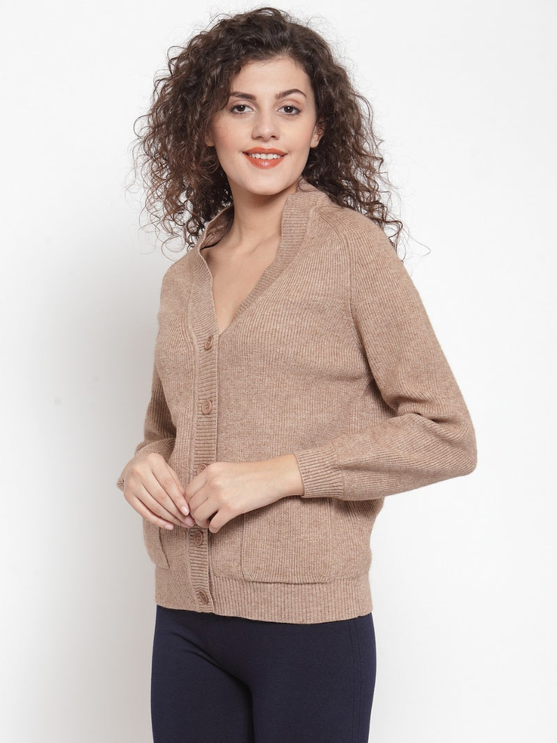Women Solid Khaki Cardigans With Pockets