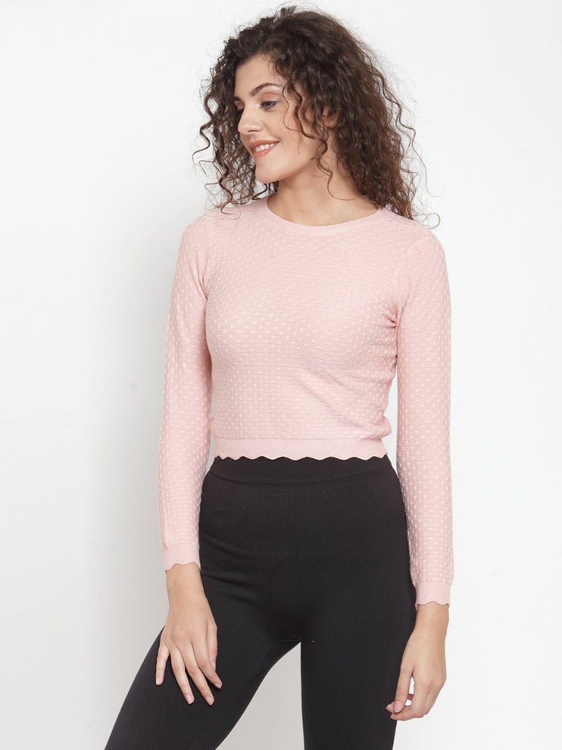 Women Peach-Coloured Self Design Pullover Woolen Sweater