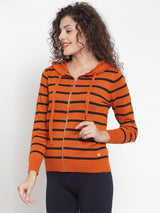 Women Striped Rust Round Neck Pullover