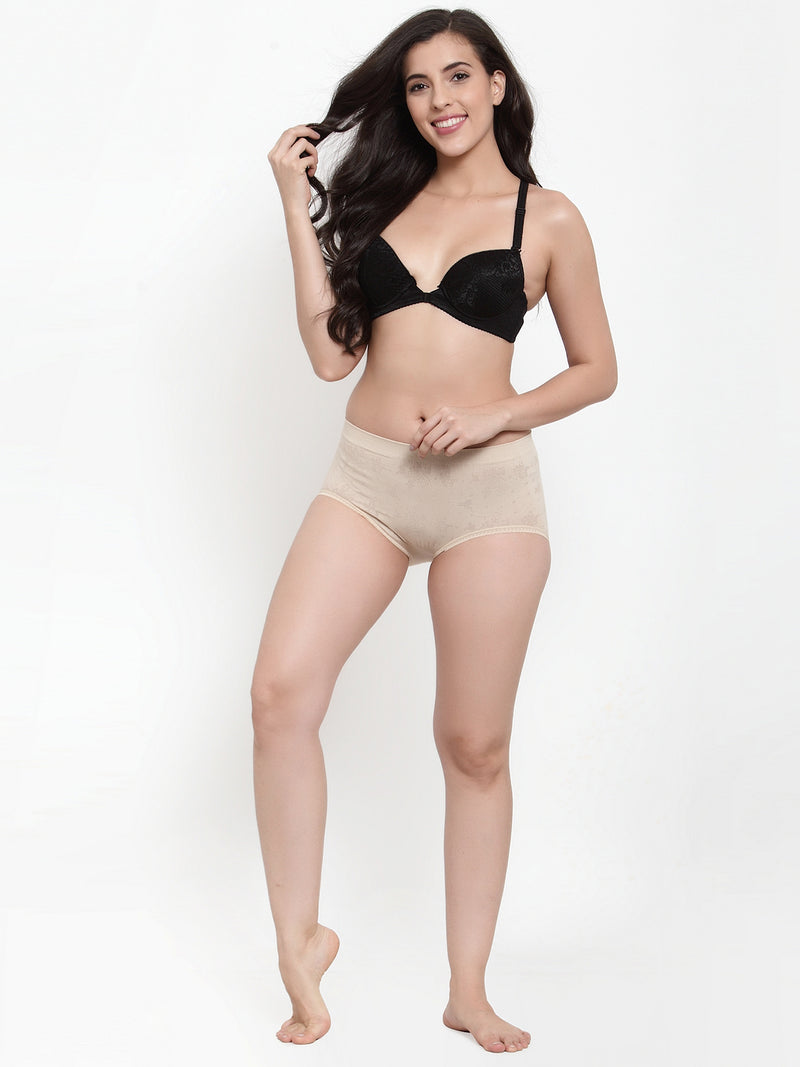 Women Beige Cotton Viscose Lycra Solid Briefs