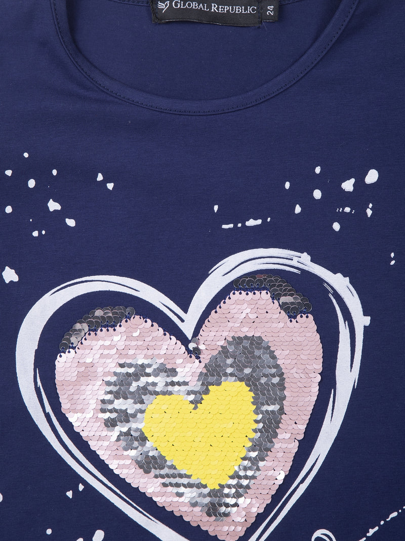 Kids Printed Navy Blue Round Neck Top