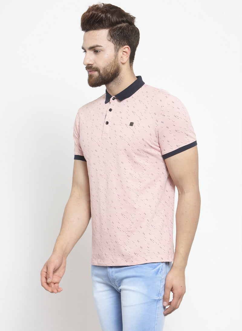 Men Pink Printed Polo T-Shirt