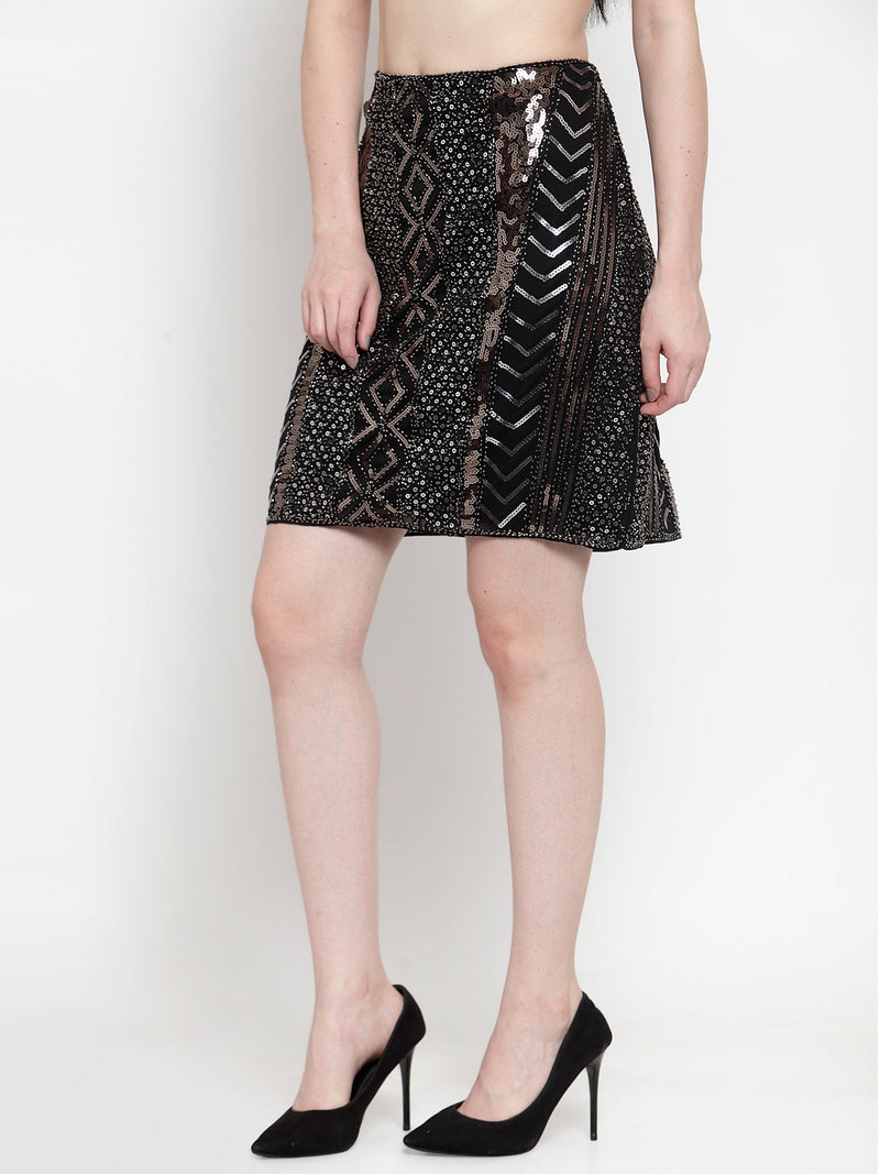 Women Sequinned Copper Black Skirt
