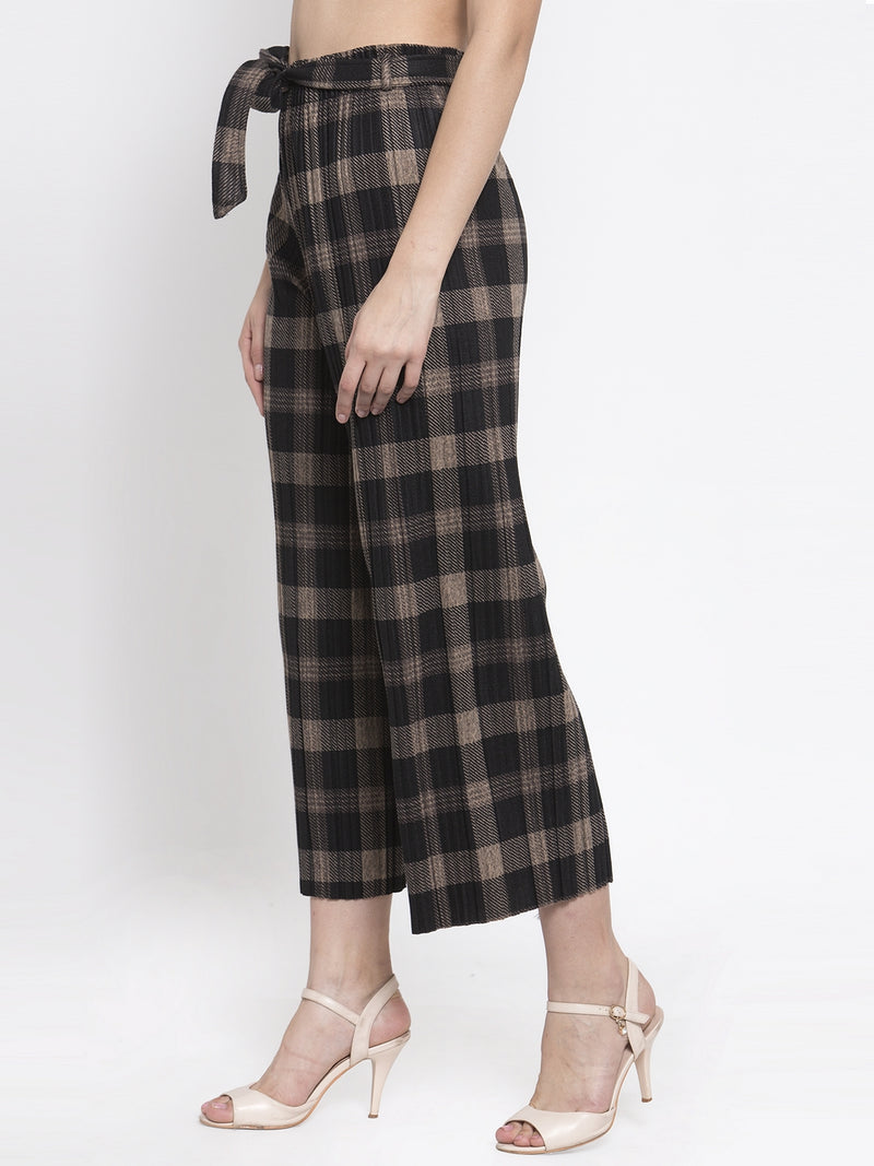 Women Black Checked Plazo