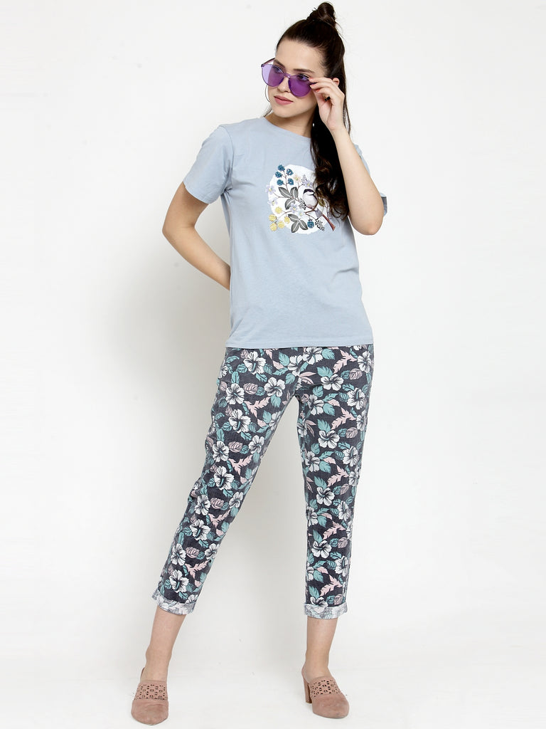 Women Flower Print Black Cotton Lower
