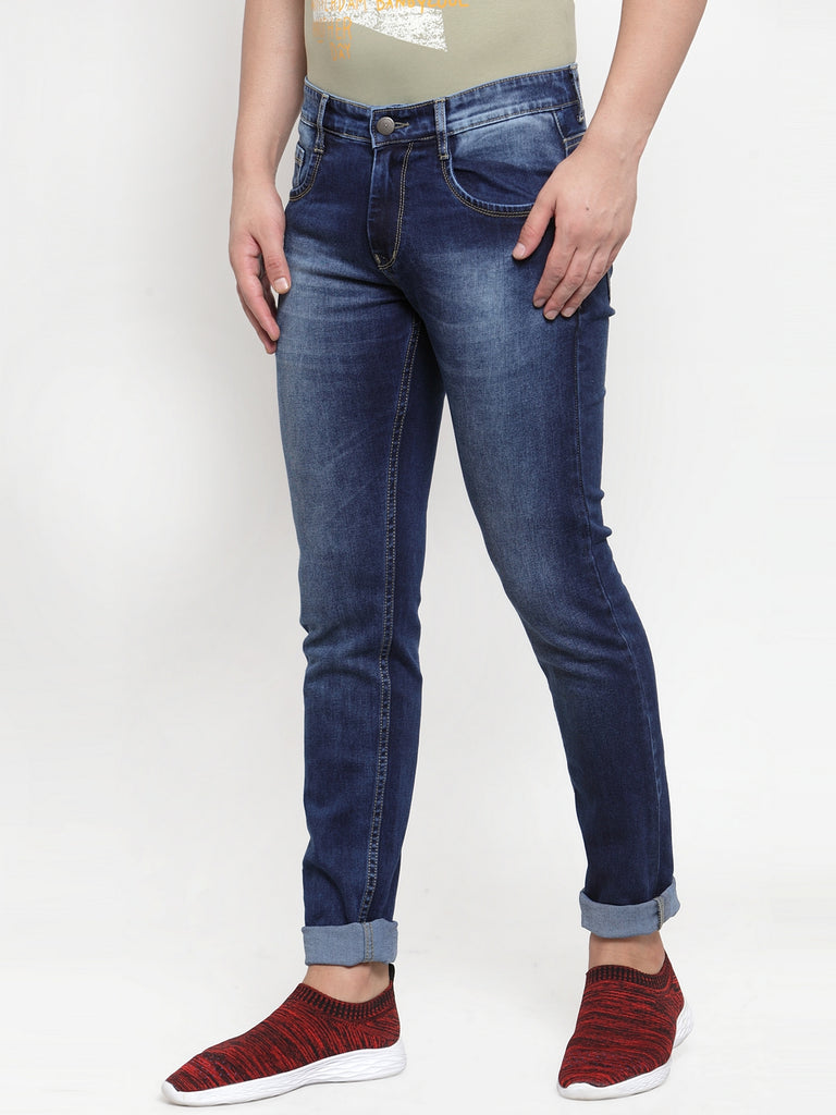 Mens Blue Denim Solid Jeans