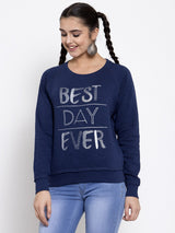 Women Printed Navy Blue Round Neck Sweatshirt