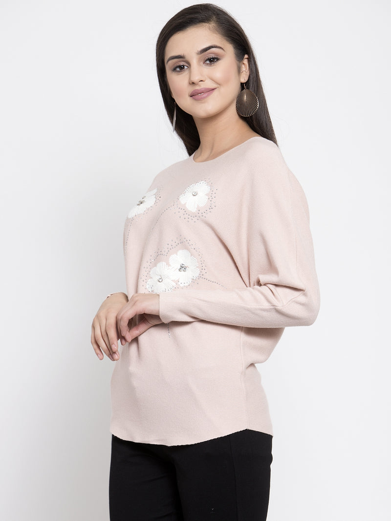 Women Printed Pink Round Neck Pullover