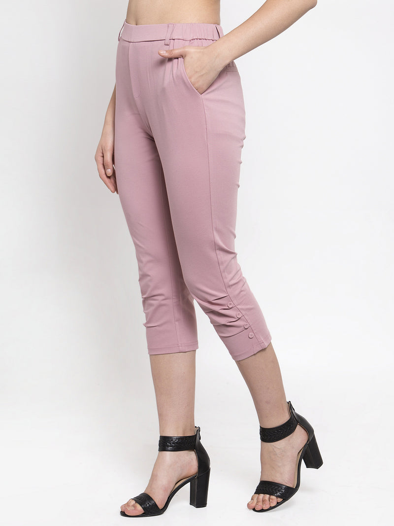 Women Skinny Fitted Pink Solid Capri