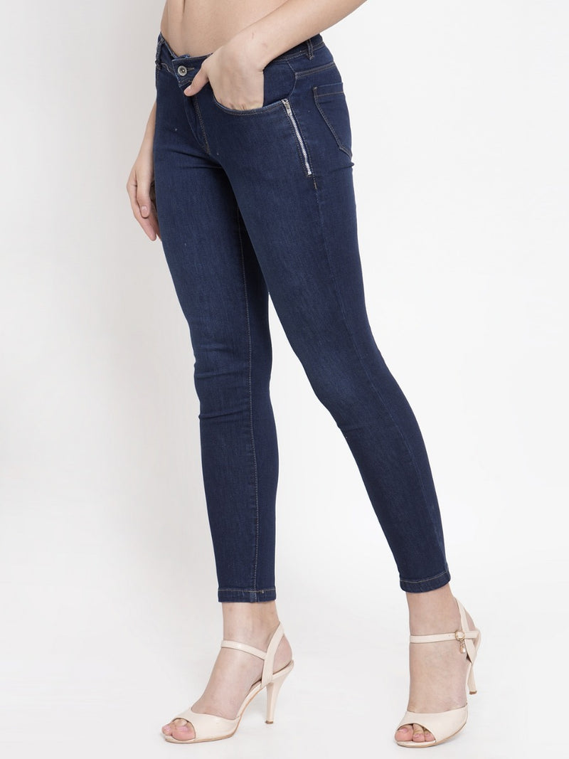 Women Dark Blue Skinny Fitted Jeans