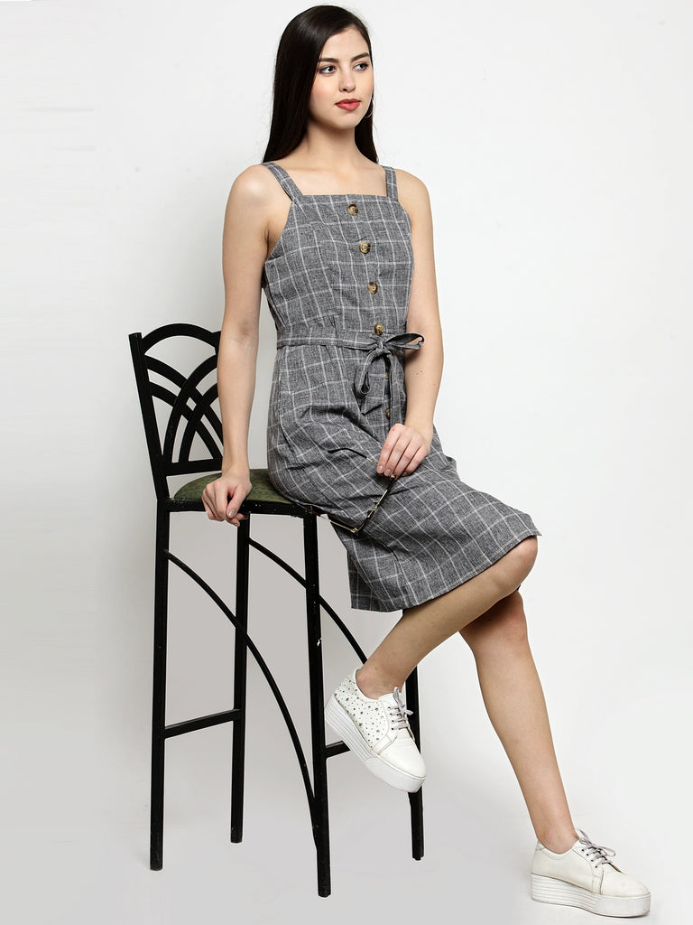 Women Checked Grey Square Neck Dress
