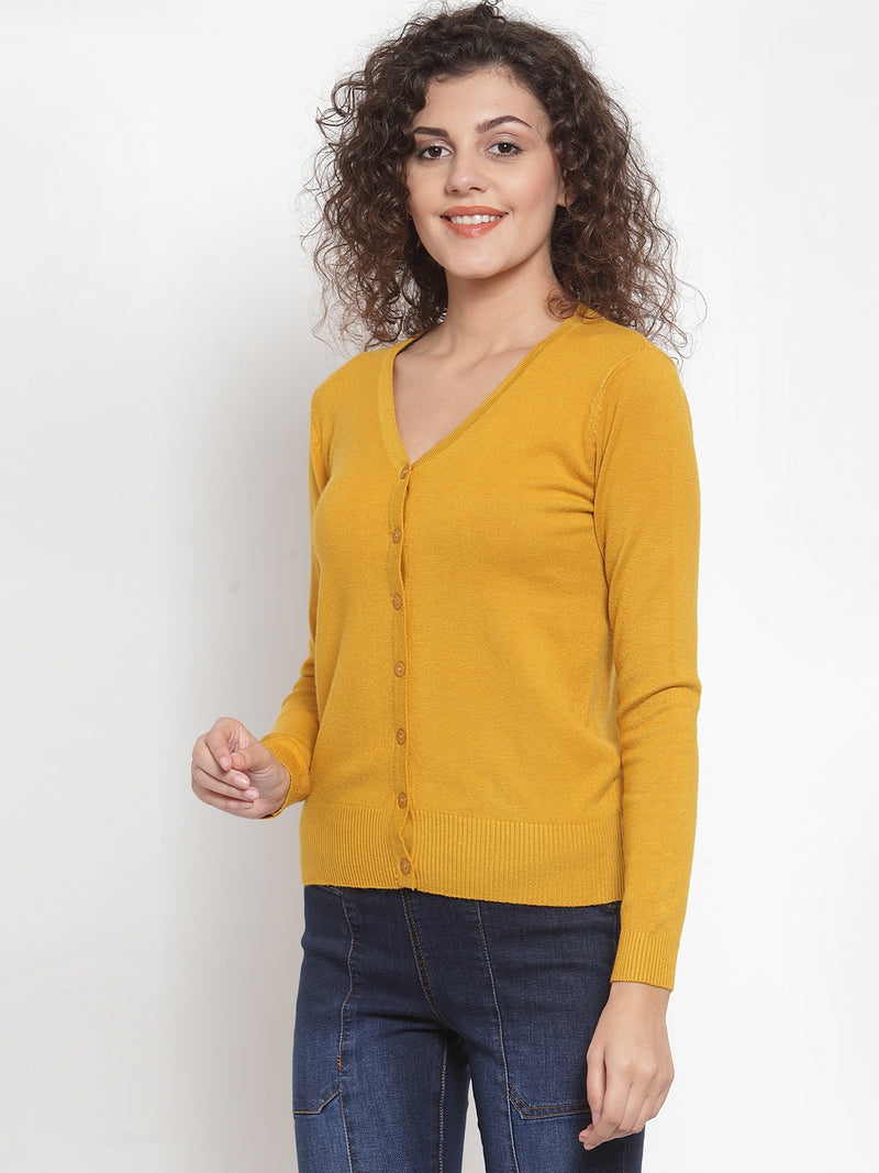 Women Solid Plain Mustard Cardigan