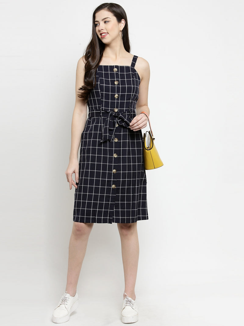 Women Navy Square Neck Dress