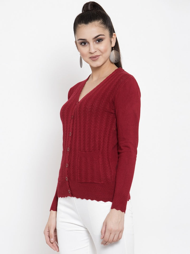 Women Solid Maroon V-Neck Cardigan