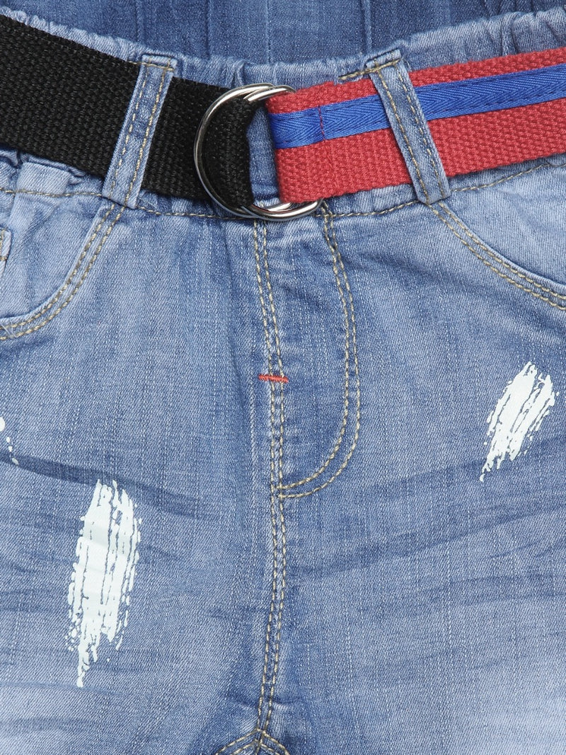 Kids Denim Shorts With Rip Detail And Belt