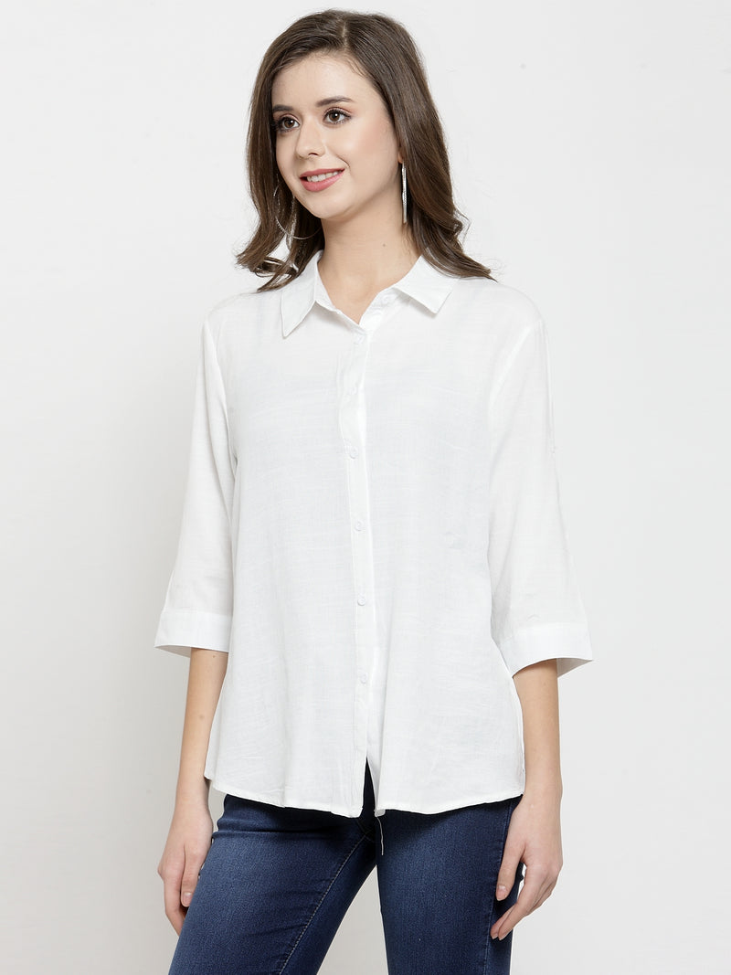 Women White Solid Shirt Collar Relaxed Fit Shirt