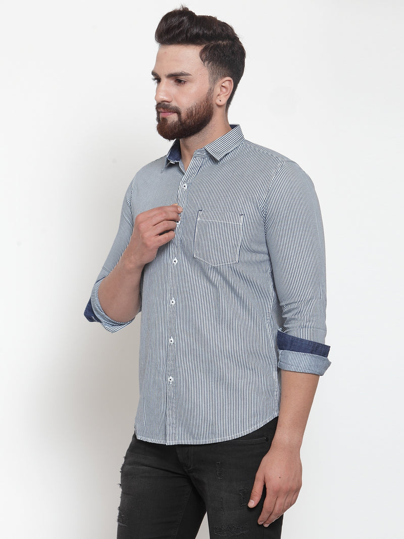 Mens Solid Blue Collar Shirt