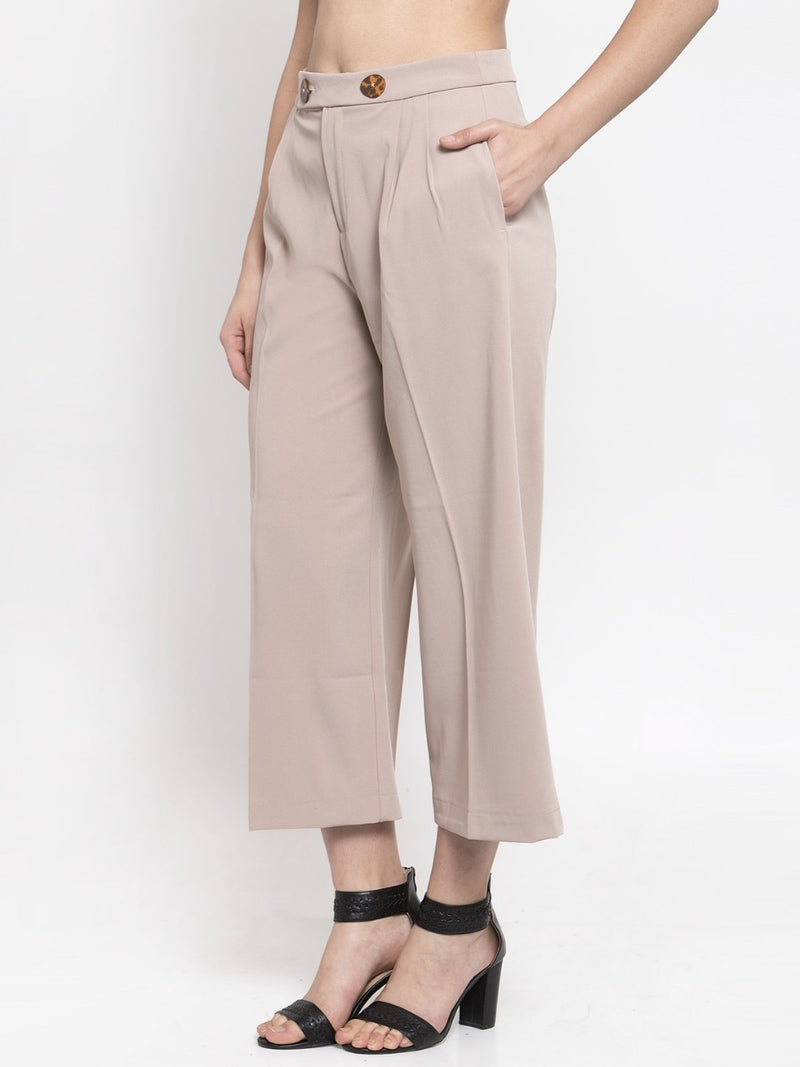 Women Solid Beige Plazo With Button Detail