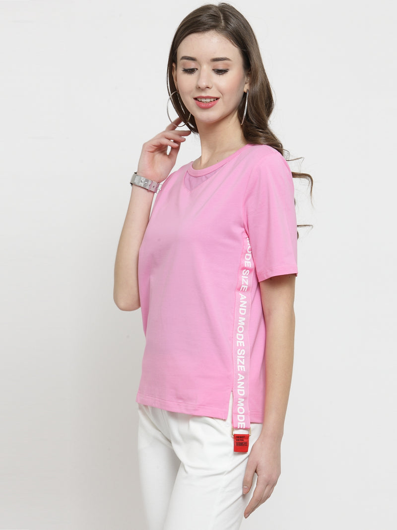 Women Pink Solid Round Neck Regular Fit Tops
