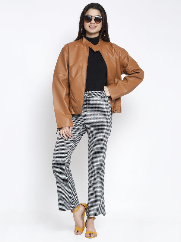 Women Brown T- Neck Solid Jacket