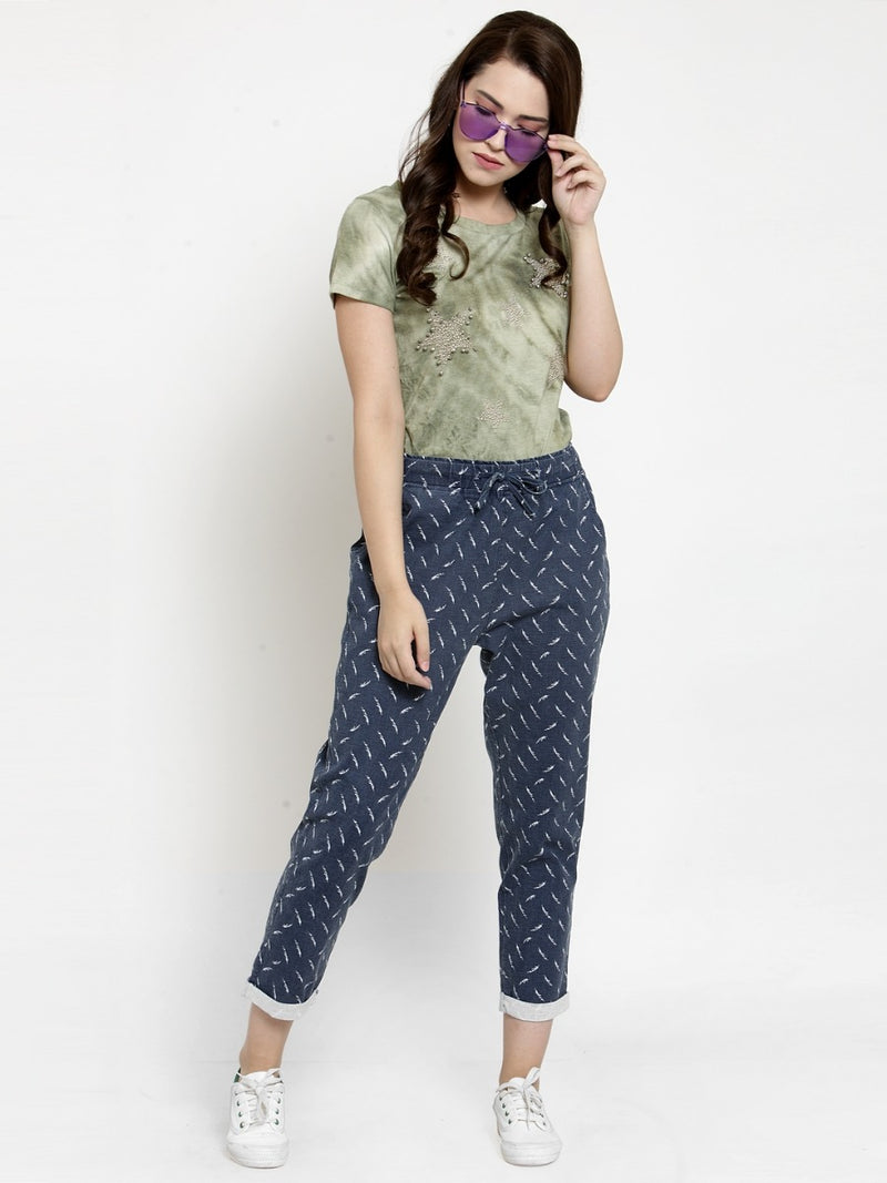 Women Printed Navy Blue Cotton Lower