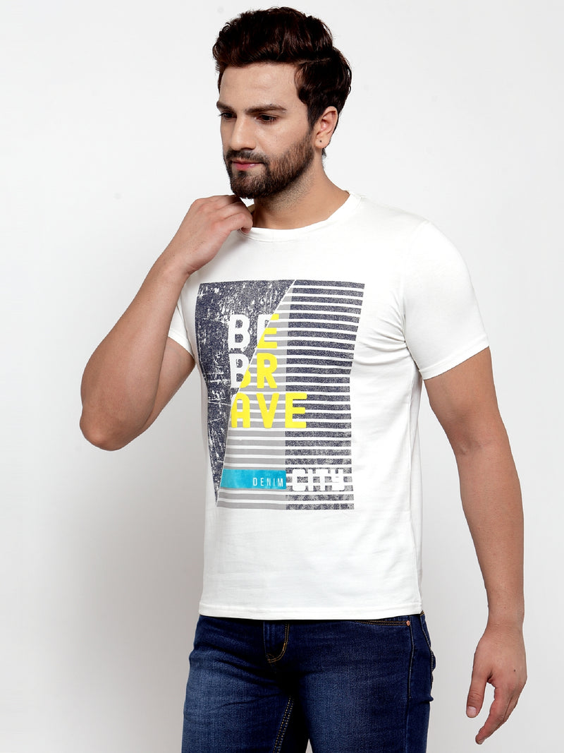 Mens Off white Round Neck Printed T-Shirt
