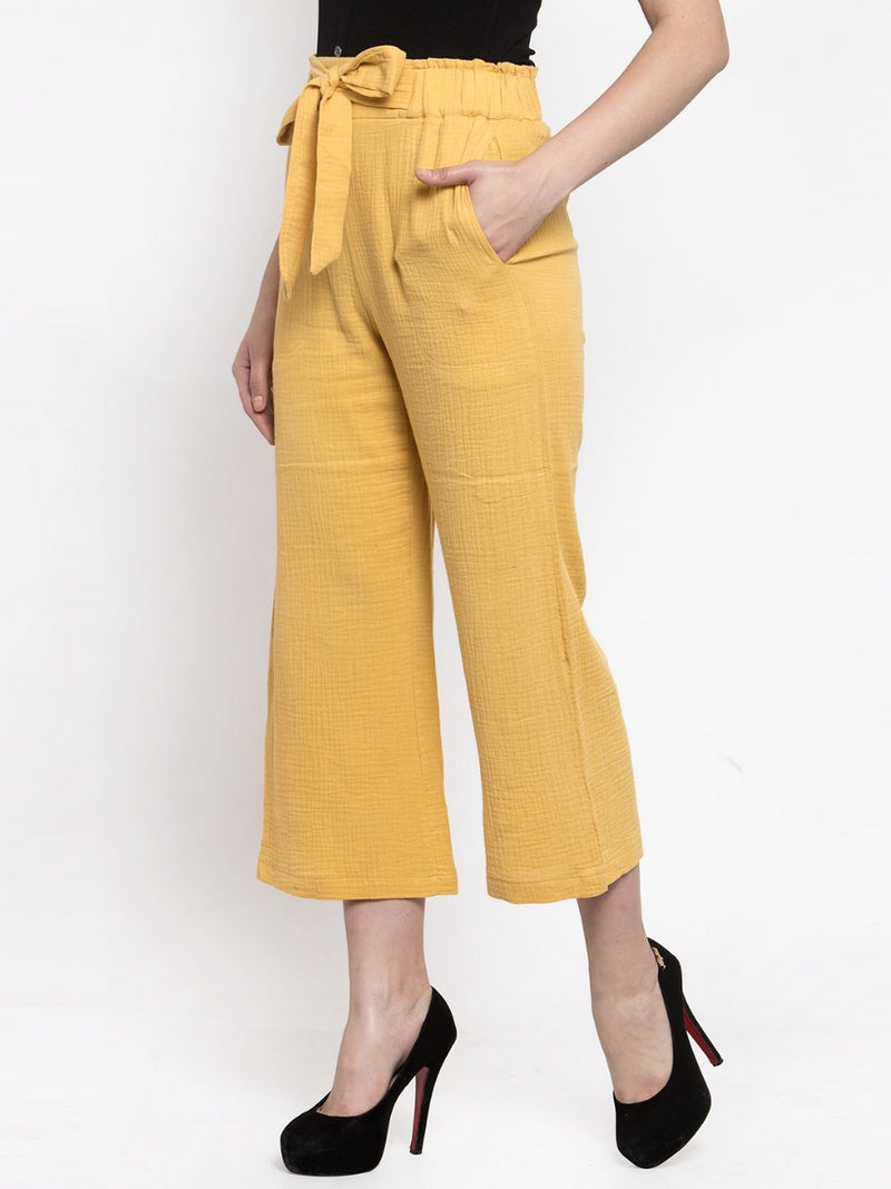 Women Solid Mustard Polycotton Lower