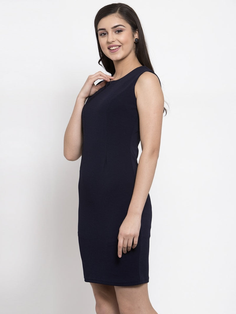 Women Embellished Navy Blue Bodycon Dress