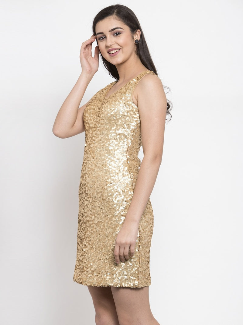 Women Sequinned Gold Slim Fit Dress