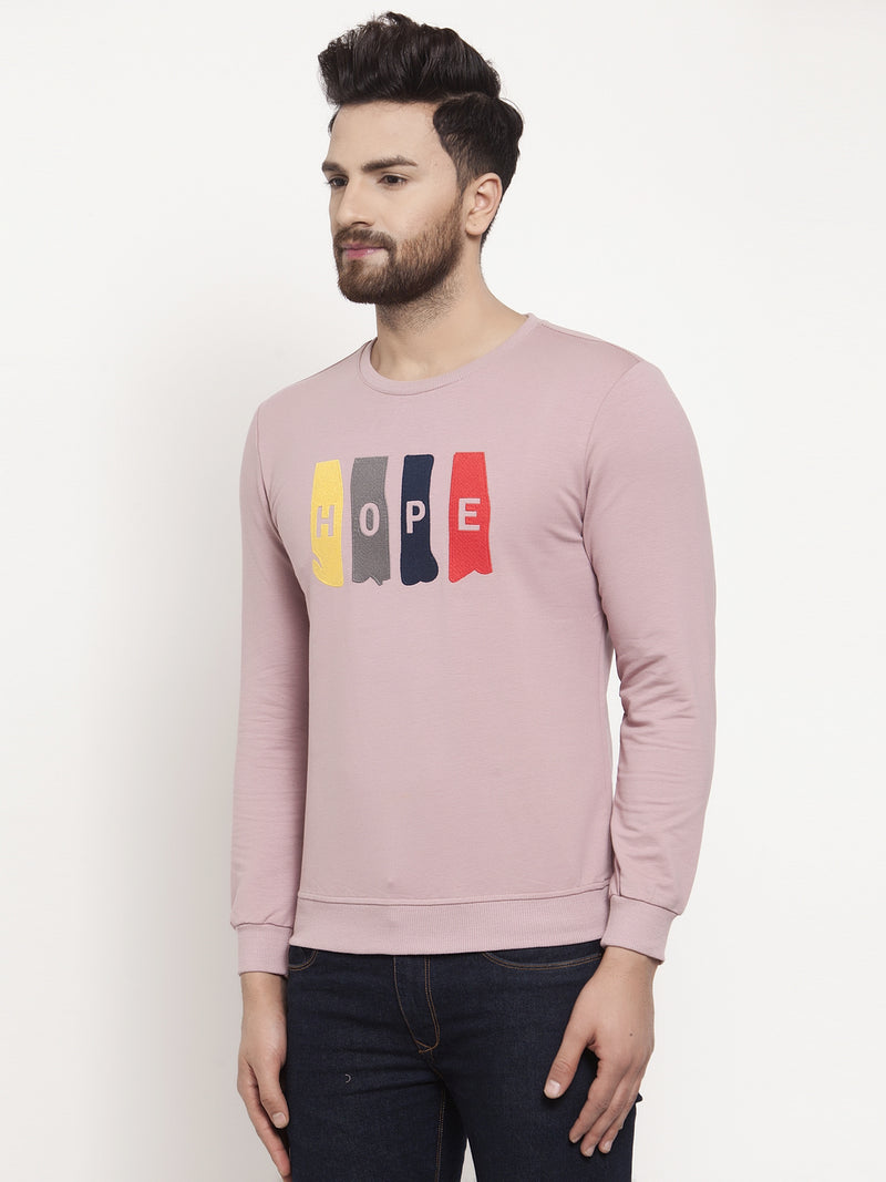 Mens Printed Pink Round Neck Sweatshirt