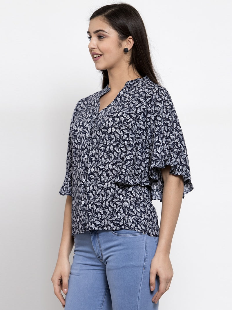 Women Printed Navy Blue Trumpet Sleeve Top