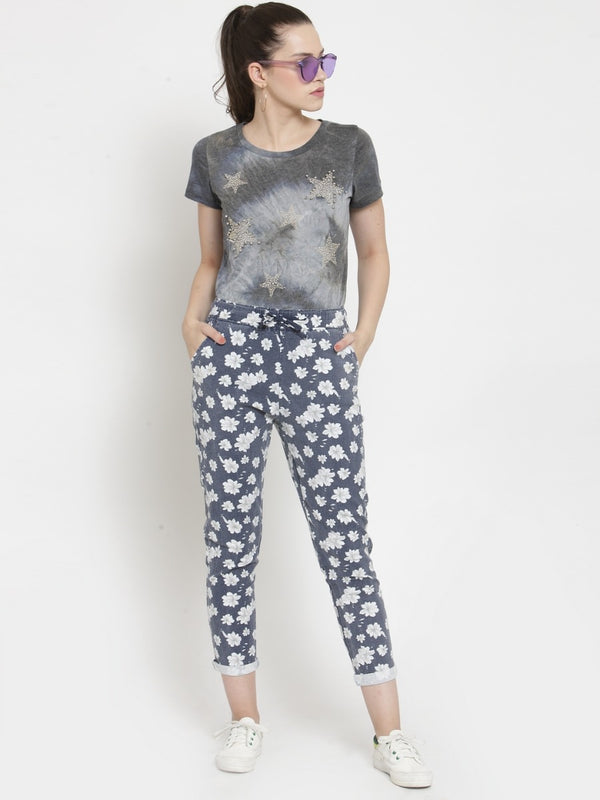 Women Floral Printed Navy Blue Cotton Lower