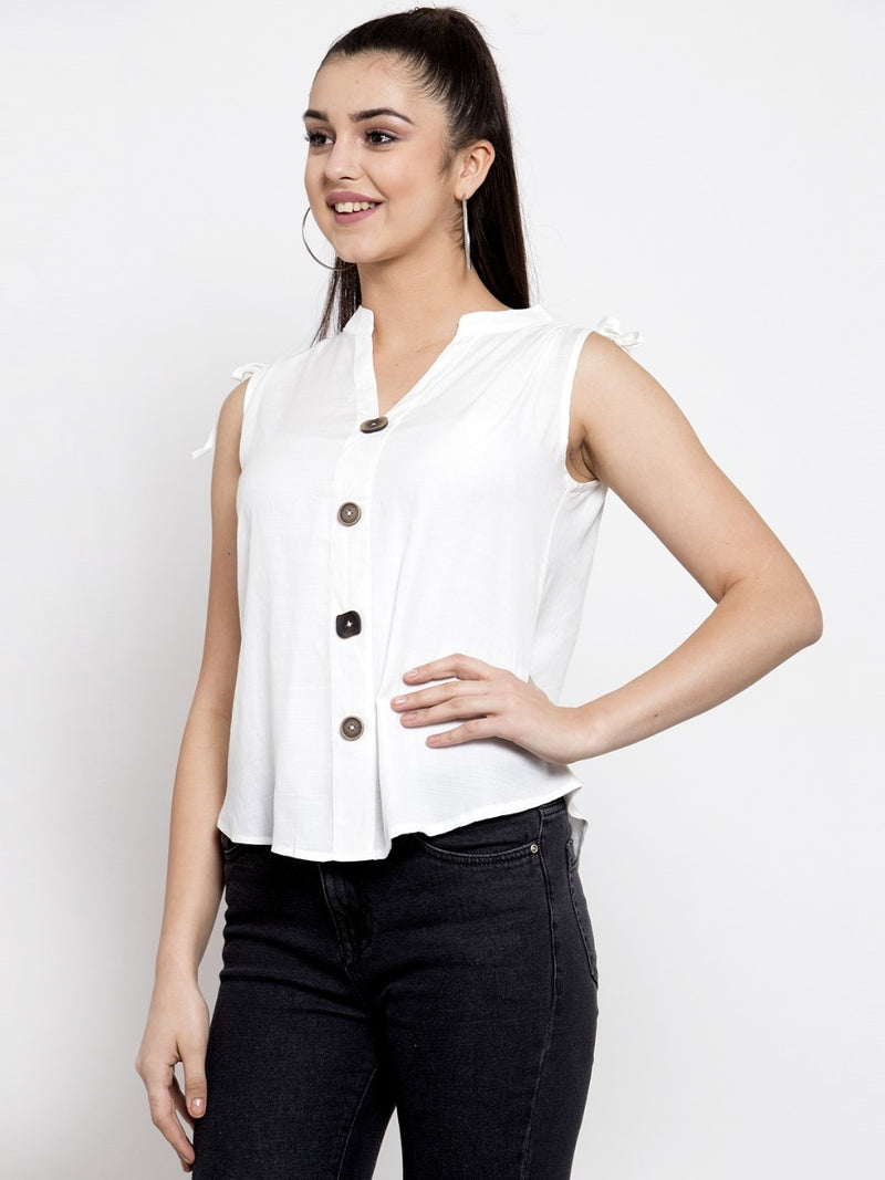 Women Solid White Mandarin Collar Shirt Top