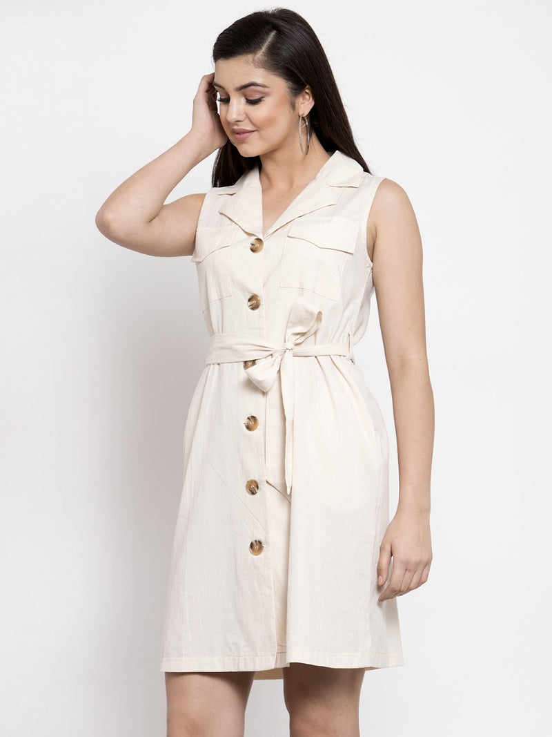 Women Cream Trench Collar Dress